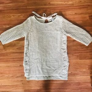 LC Lauren Conrad Chunky Knit Lace Detail Sweater